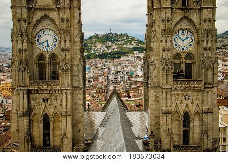 The tower close-up of the main Quito cathedral Ecuador