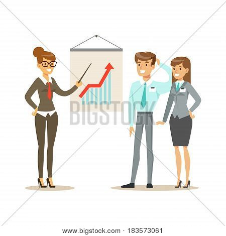 Businessmen discussing sales growth in the office. Positive working in the office. Colorful cartoon character vector Illustration