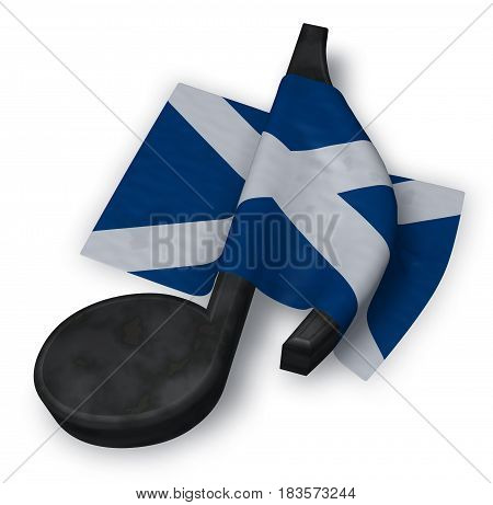 music note and scottish flag - 3d rendering