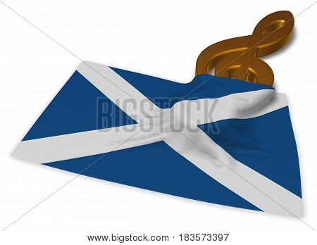 clef symbol note and scottish flag - 3d rendering