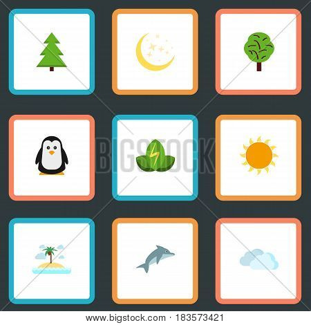 Flat Eco Energy, Playful Fish, Isle Beach And Other Vector Elements. Set Of Green Flat Symbols Also Includes Bird, Eco, Energy Objects.