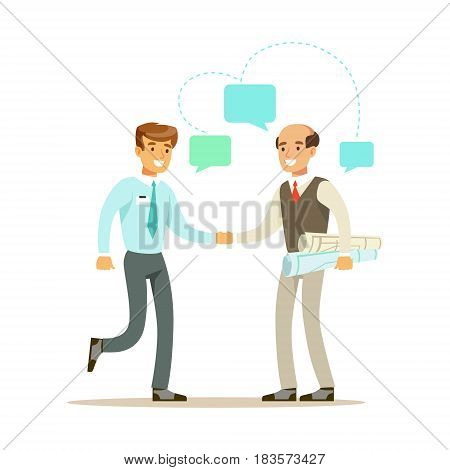 Two businessmen discussing at meeting. Positive working in the office. Colorful cartoon character vector Illustration