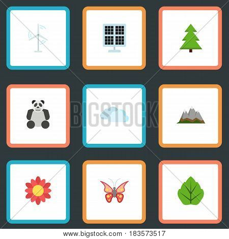 Flat Tree, Landscape, Beauty Insect Vector Elements. Set Of Eco Flat Symbols Also Includes Photocell, Flower, Spruce Objects.