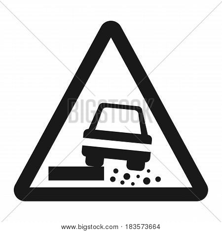 Dangerous Roadside and shoulder sign line icon, Traffic and road sign, vector graphics, a solid pattern on a white background, eps 10