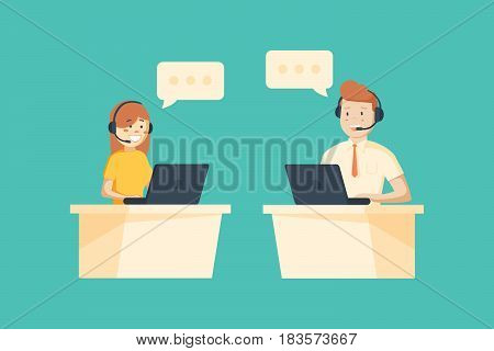 Smiling male and female operator with headset working at call center. Customer service concept.