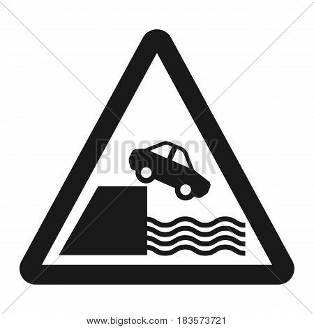 Embankment sign line icon, Traffic and road sign, vector graphics, a solid pattern on a white background, eps 10