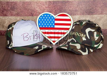 A patriotic camouflage themed wedding still life
