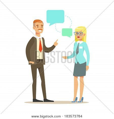 Two colleagues discussing at meeting. Positive working in the office. Colorful cartoon character vector Illustration