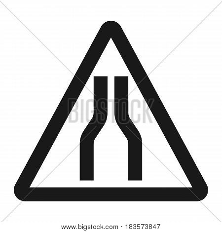 Road Narrows ahead sign line icon, Traffic and road sign, vector graphics, a solid pattern on a white background, eps 10