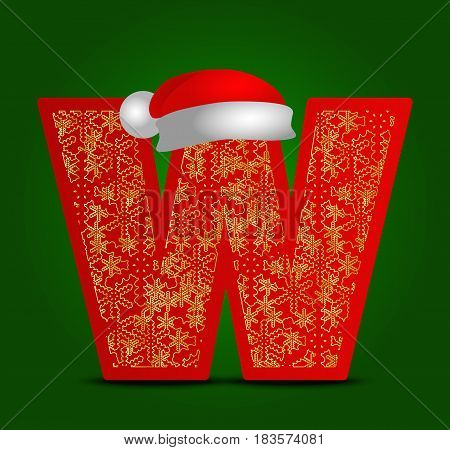 Vector alphabet letter W with christmas santa hat and gold snowflakes. New year ABC
