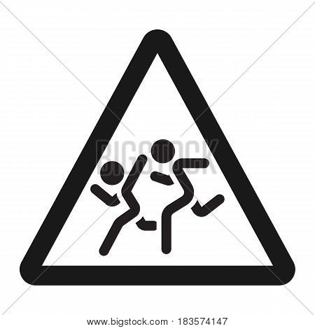 School children sign line icon, Traffic and road sign, vector graphics, a solid pattern on a white background, eps 10