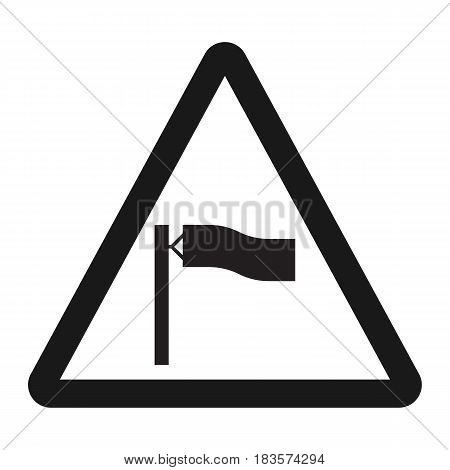 Warning wind sign line icon, Traffic and road sign, vector graphics, a solid pattern on a white background, eps 10