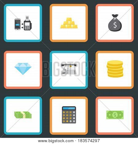 Flat Finance Sack, Jewel Gem, Small Change And Other Vector Elements. Set Of Finance Flat Symbols Also Includes Salary, Calculator, Remote Objects.