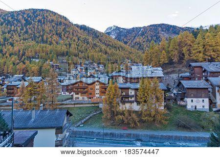 ZERMATT, SWITZERLAND - OCTOBER 27, 2015: Morning view of Zermatt Resort, Canton of Valais, Switzerland