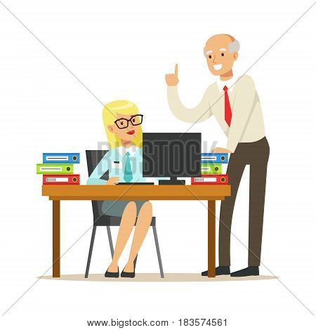 Mature chief giving instructions to his secretary. Positive working in the office. Colorful cartoon character vector Illustration