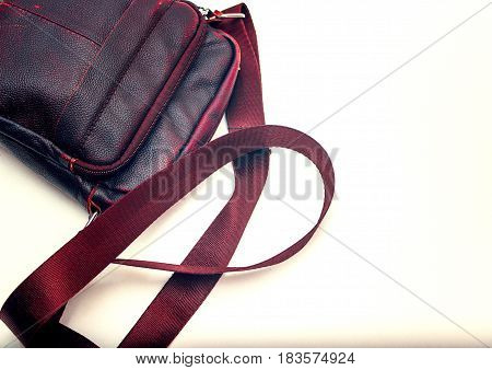 Men's bag made of genuine leather is brown.