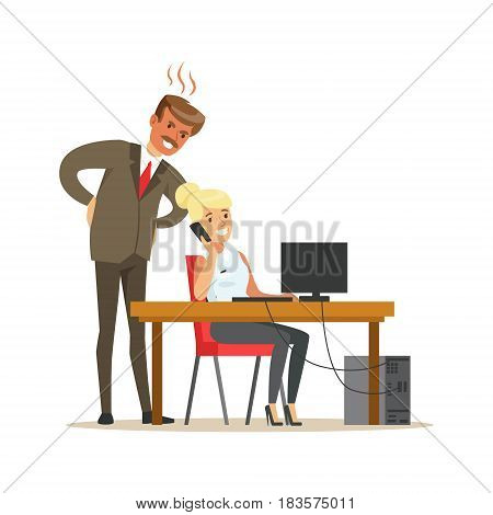 Angry boss yelling at his secretary. Colorful cartoon character vector Illustration