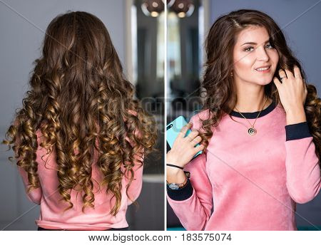 Collage hair curly beauty. Close-up portrait of a young brunette women