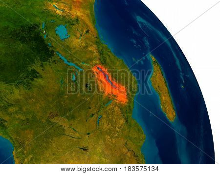 Malawi On Model Of Planet Earth