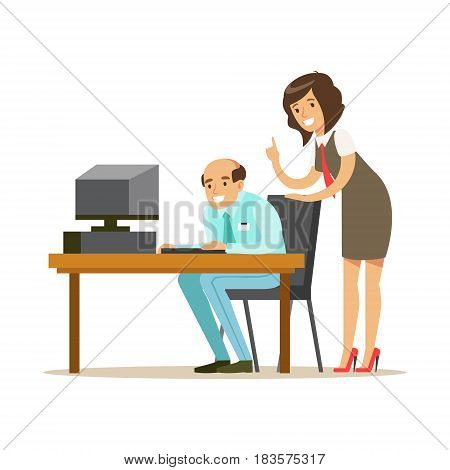 Businessmen and businesswoman working together in office. Subordinate and boss. Positive working in the office. Colorful cartoon character vector Illustration
