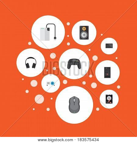 Flat Hard Disk, Earphones, Amplifier And Other Vector Elements. Set Of Notebook Flat Symbols Also Includes Presentation, Screen, Monitor Objects.
