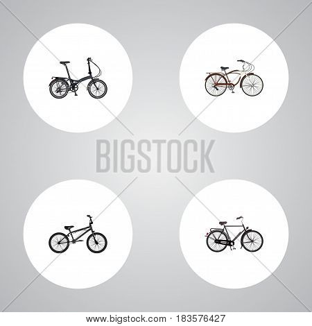 Realistic Folding Sport-Cycle, Journey Bike, Training Vehicle And Other Vector Elements. Set Of Bike Realistic Symbols Also Includes Folding, Cruise, Dutch Objects.