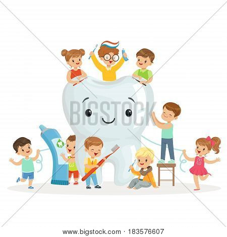 Little children take care of and clean a large, smiling tooth. Pediatric dentistry and caring for children teeth. Colorful cartoon characters detailed vector Illustrations isolated on white background