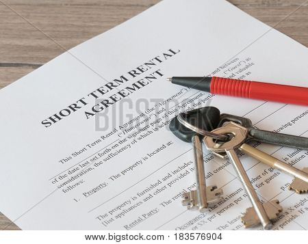 Close - up of Lease or Rental agreement form
