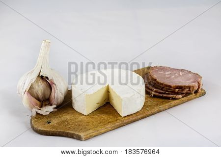 Fresh Sausages On A Chopping Board, White Isolated Background