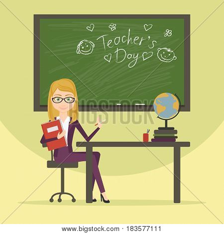 Teacher character cartoon vector flat style illustration. A woman working in the field of education. The educator in the classroom, on the blackboard was written in chalk greetings on teacher day