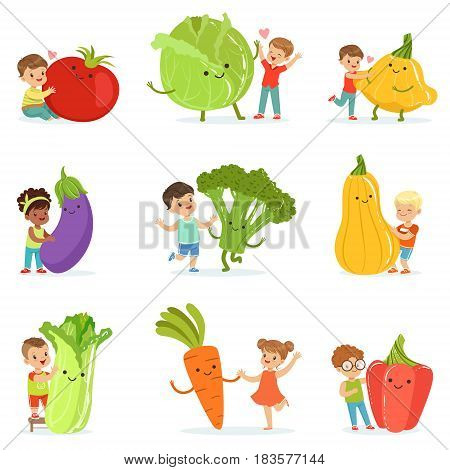 Cute little children having fun and playing with big vegetables, set for label design. Healthy eating, dieting, vegetarian kitchen concept. Colorful cartoon characters detailed vector Illustrations isolated on white background