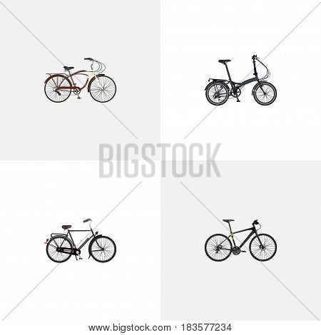 Realistic Journey Bike, Folding Sport-Cycle, Training Vehicle And Other Vector Elements. Set Of Bike Realistic Symbols Also Includes Folding, Hybrid, Bicycle Objects.