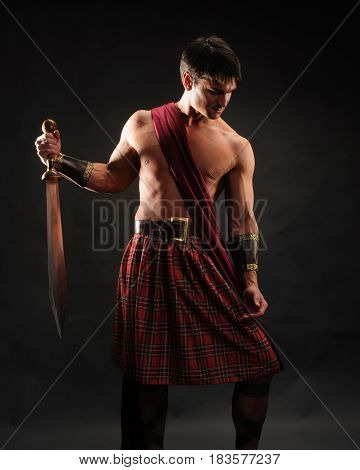 The handsome highlander is ready for his battle.