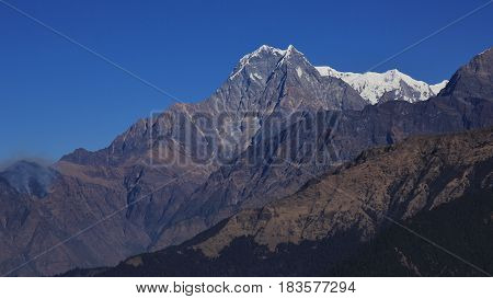 Nilgiri high mountain in Nepal. View from Mohare Danda.