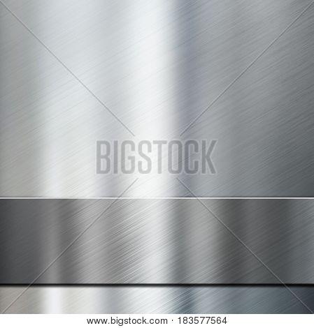 metal stripe over brushed metallic background 3d illustration