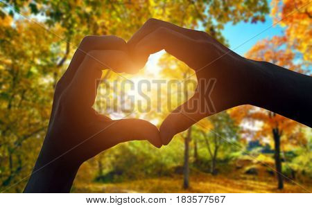 Silhouette of the heart hand gesture