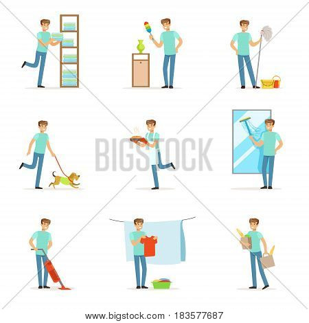 Smiling househusbands washing, cooking, cleaning, vacuum cleaning and shopping. Set of colorful cartoon detailed vector Illustrations isolated on white background