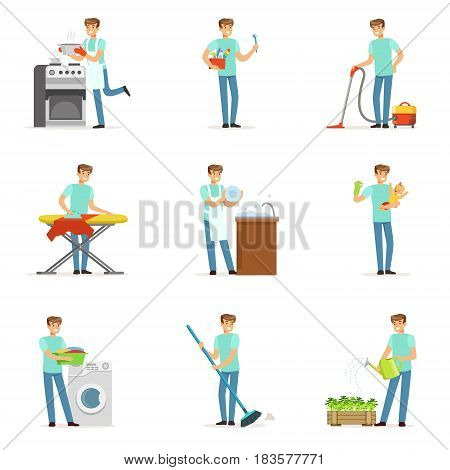 Happy househusband men cleaning their house, washing, ironing bringing up child. Set of colorful cartoon detailed vector Illustrations isolated on white background