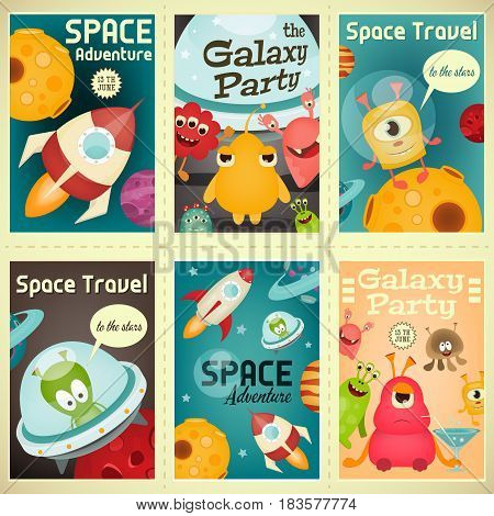 Space Posters Set - Cartoon Aliens and Galaxy Monsters with Shuttles Rockets and Spaceships. Invitation for Party. Travel Concept. Vector Illustration.