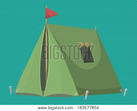 Forest camping vector concept with tourist outdoor tent winter nature leisure and activity forest sport campsite wilderness journey illustration. Canvas expedition active hiking dome shelter.