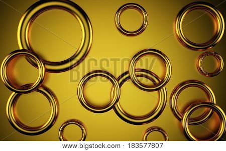 Abstract gold tube geometric 3 D background. Rendering