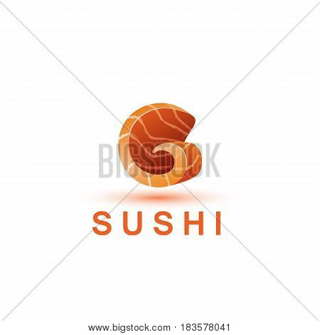 Sushi logo template. The letter G looks like a fresh piece of salmon fish.