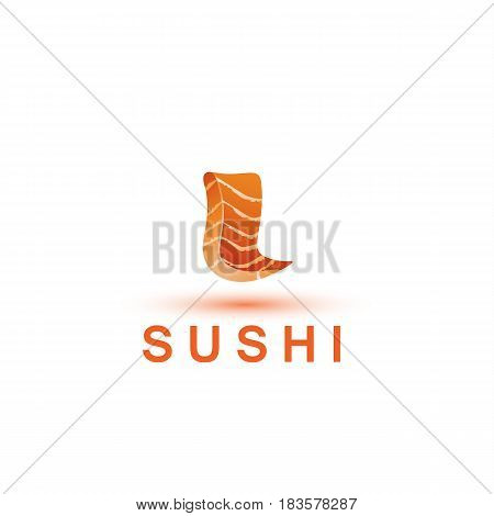 Sushi logo template. The letter L looks like a fresh piece of salmon fish.