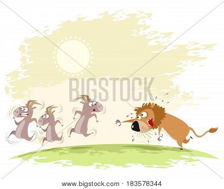 Vector illustration of a lion catches goats