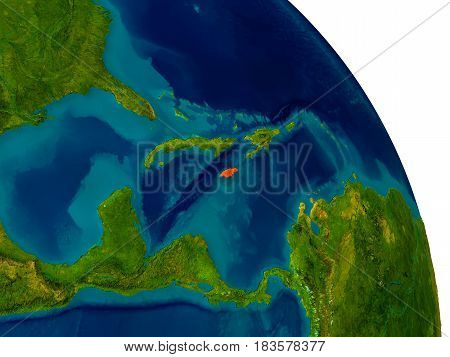 Jamaica On Model Of Planet Earth