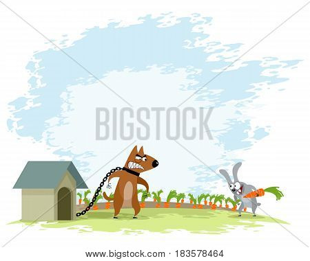 Vector illustration of a dog and hare