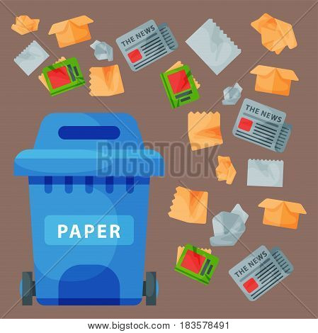 Recycling garbage paper elements trash bags tires management industry utilize concept and waste ecology can bottle recycling disposal box vector illustration. Eco pollution refuse service.