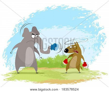 Vector illustration of a elephant and wolf boxing