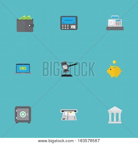 Flat Money Box, Billfold, Strongbox And Other Vector Elements. Set Of Commerce Flat Symbols Also Includes Purse, Verdict, Savings Objects.