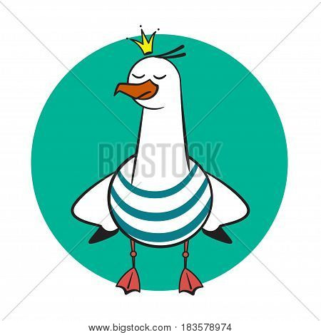 Funny cartoon seagull, Crowned on rounded background.